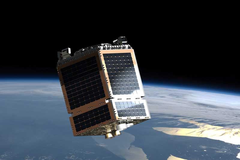 Artist representation of a Telesat LEO satellite.