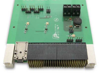 LightCONEX LC with 12-lane active module on a 3U VPX board (Style A, with front mating plate removed).